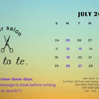 Lịch làm việc tetote. tháng 7/2021